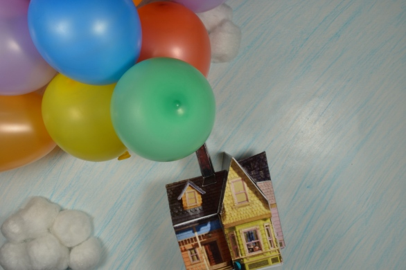miniature 3D Up house with balloons