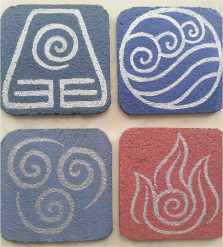 avatar earth water air fire elements DIY cork coasters
