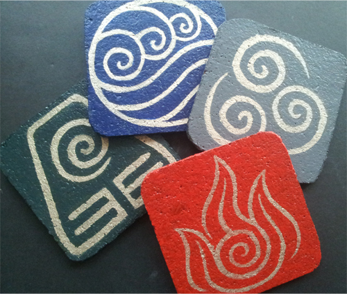 avatar earth water air fire elements DIY cork coasters with mod podge sealant