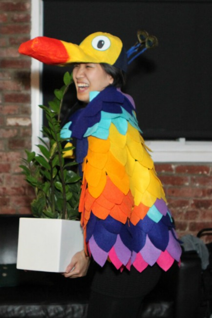 DIY kevin the bird costume side view