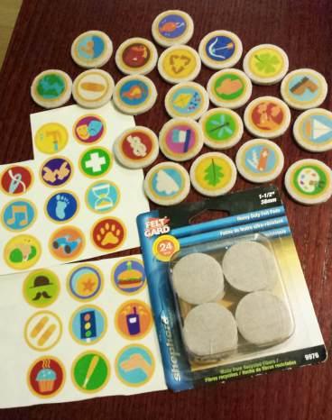 diy russell badge sticker sheet and felt pads