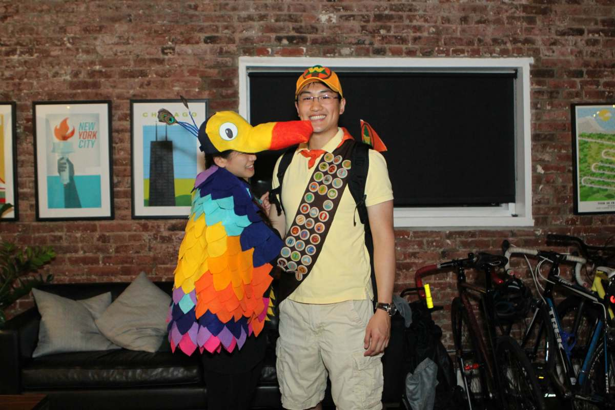 diy halloween costume – kevin and russell from disney pixar's up